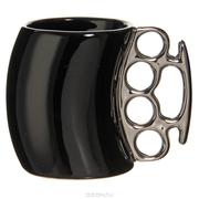Кружка кастет черная с позолоченной ручкой